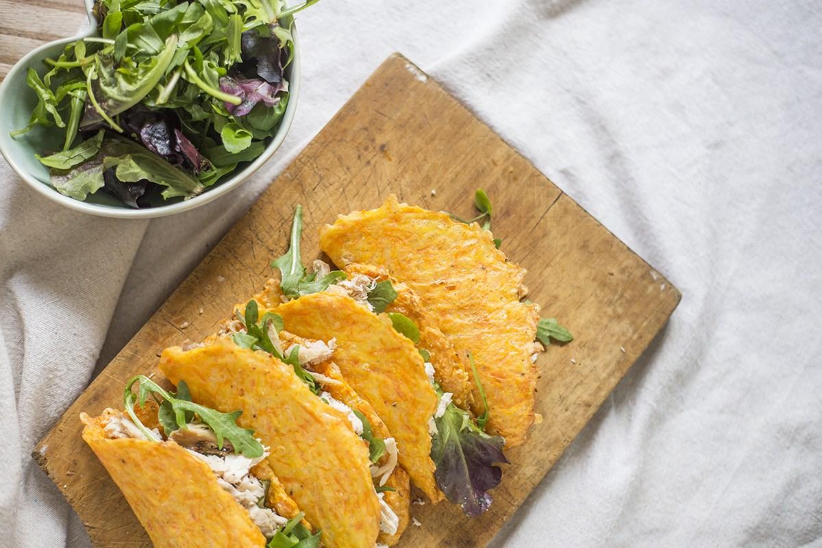 Tacos de Cenoura com Frango Desfiado