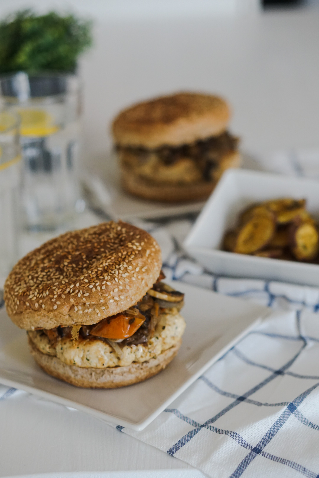 Hambúrguer Fit de frango e legumes